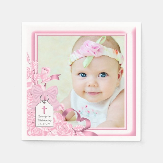 Elegant Pink Rose Photo Christening