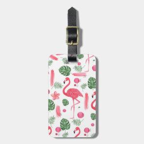 Elegant pink watercolor tropical flamingo floral luggage tag