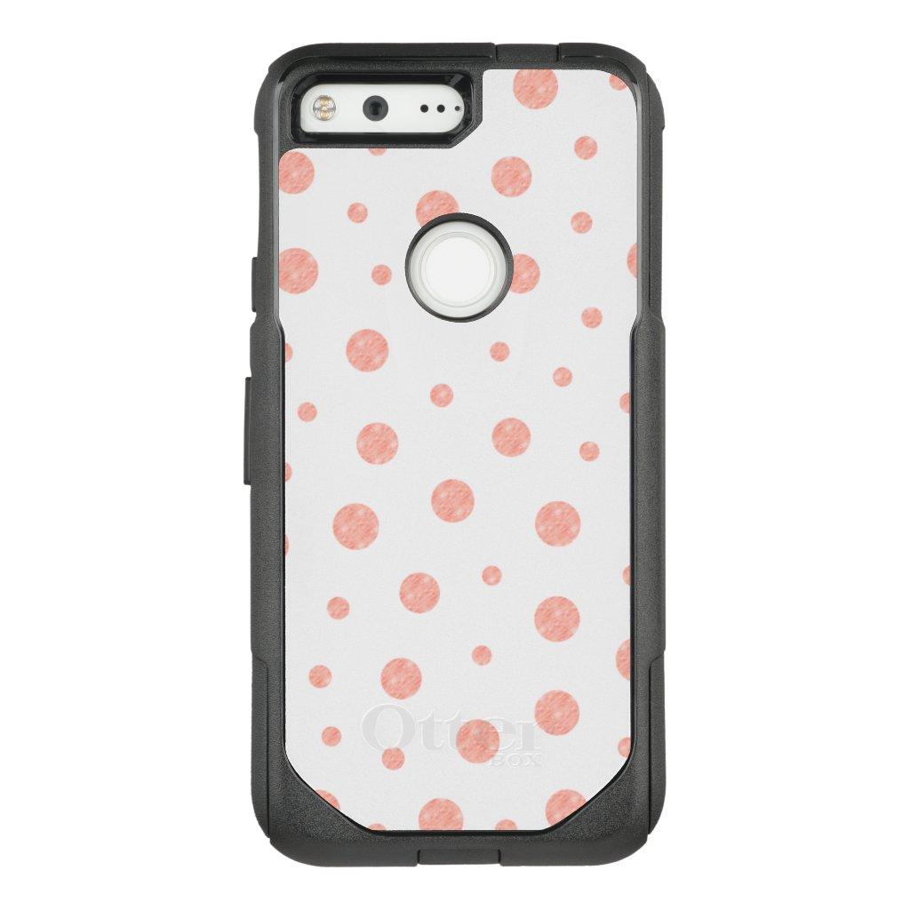 Elegant polka dots - Soft Pink Gold White OtterBox Commuter Google Pixel Case