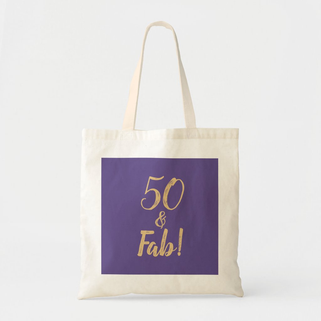 Elegant Purple 50 & Fab! 50th Birthday Party Tote Bag