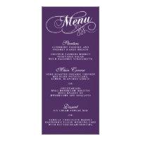 Elegant Purple And White Wedding Menu Templates Custom Rack Card