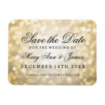 Elegant Save The Date Gold Glitter Lights Rectangular Photo Magnet
