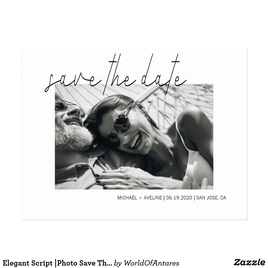Elegant Script ?Photo Save The Date Postcard