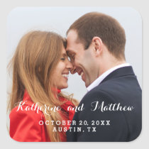 Elegant Script | Save the Date Photo Sticker
