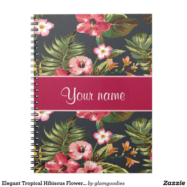 Elegant Tropical Hibiscus Flowers and Leaves  Notebook