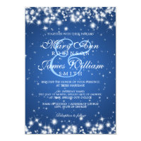 Elegant Wedding Winter Sparkle Blue 5x7 Paper Invitation Card