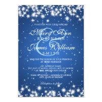 Elegant Wedding Winter Sparkle Blue 5x7 Paper Invitation Card