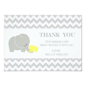 Elephant Baby Shower Thank You Note Chevron Invitation