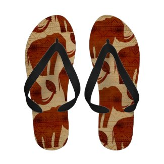 Elephant Tribal Art Design Flip_Flops