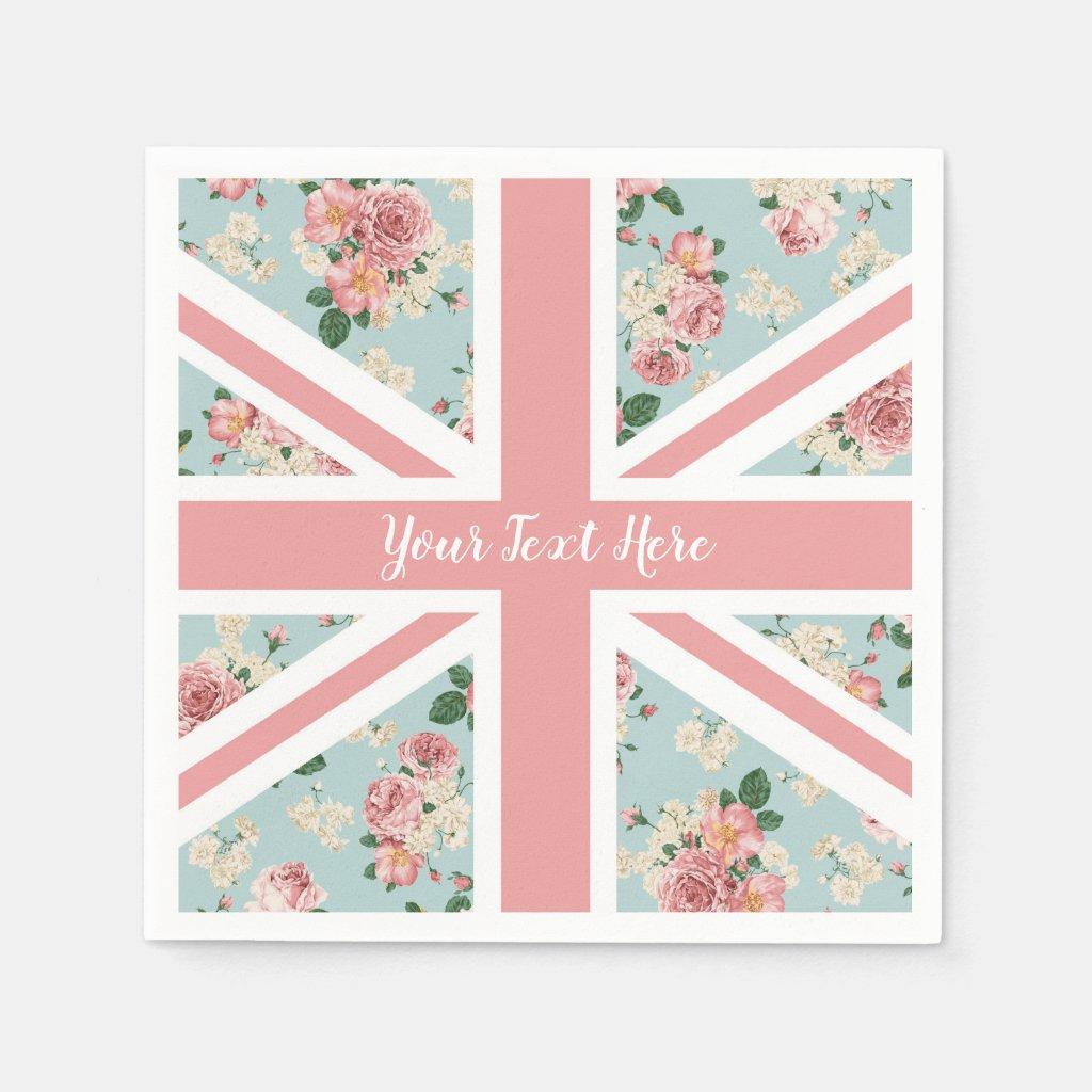 English Roses Union Jack Flag Disposable Napkin