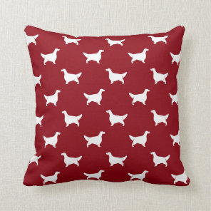 English Setter Silhouettes Pattern Red Cushion