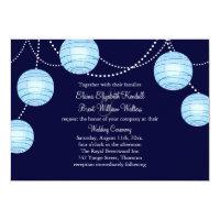 Evening Party Lanterns Wedding Invitation in Blue