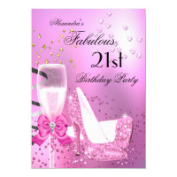 21st Shimmer Light Pink Heels Birthday Card