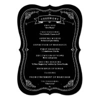 Fancy Chalkboard Vintage Wedding Program Card