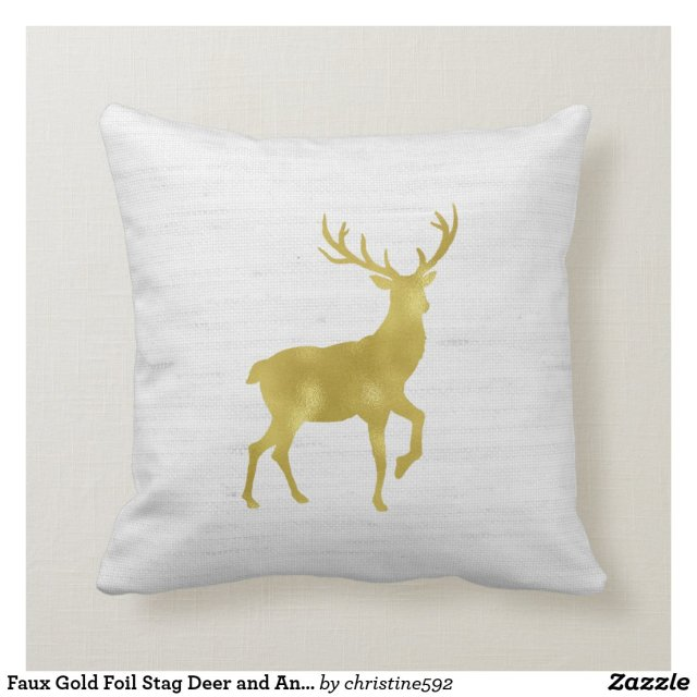 Faux Gold Foil Stag Deer and Antlers on Grey Linen