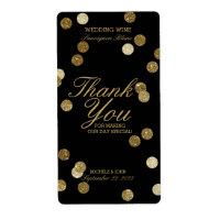 Faux Gold Glitter Confetti Wedding Wine Label
