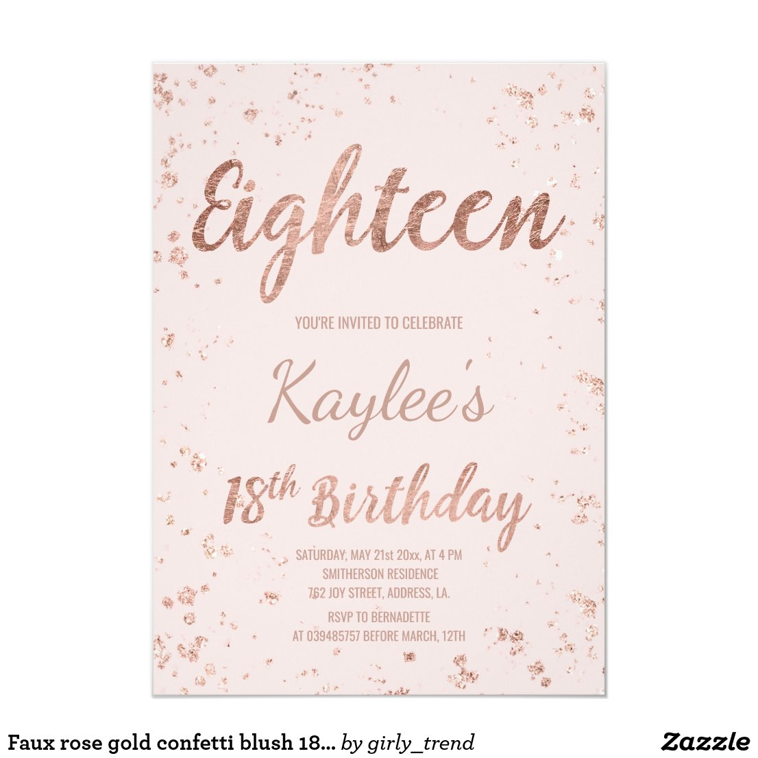 18th Birthday Party invitations Personalised Birthday Invitations