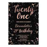 Faux rose gold confetti splatters 21st Birthday Card