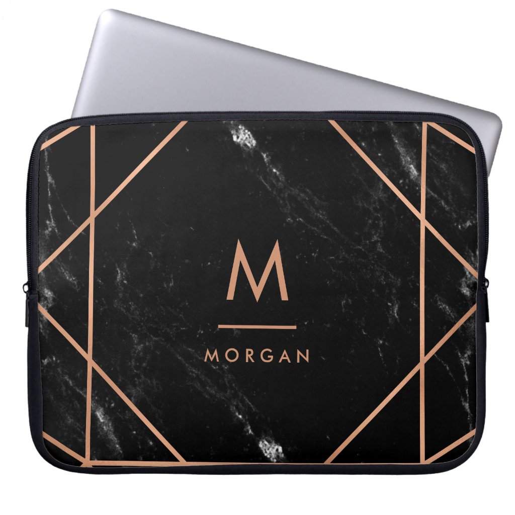 Faux Rose Gold Geometric | Black Marble Look Laptop Sleeves