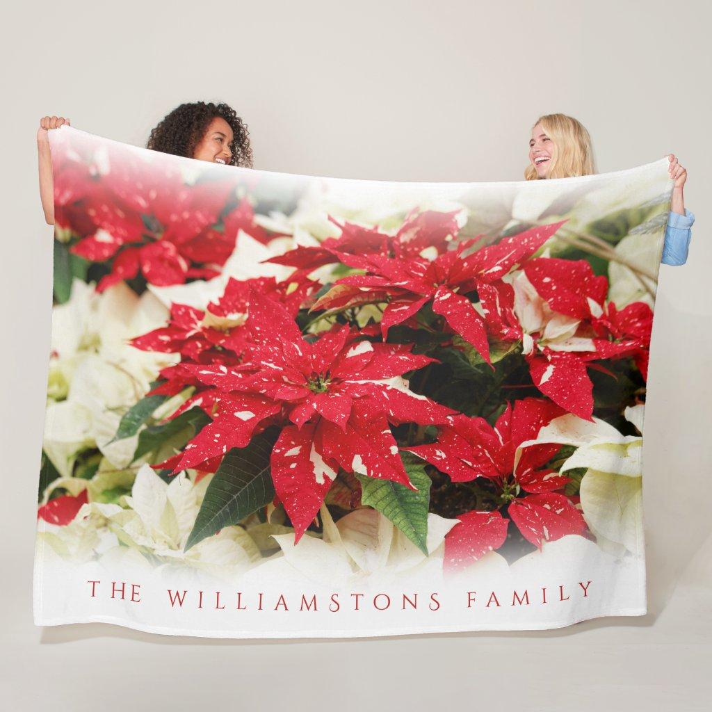 Festive Christmas Shimmer Surprise Poinsettias Fleece Blanket