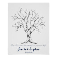 Fingerprint wedding guest book tree hand drawn poster