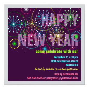 Fireworks Celebration for New Years Eve Party Invitation