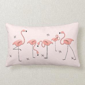Flamingos Pink Group pink back lumbar Lumbar Cushion