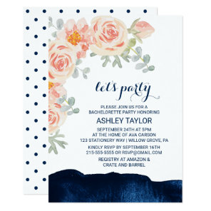 Floral Peach Pink & Navy Watercolor Let's Party Invitation