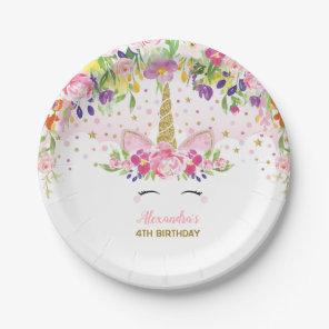 Floral Rainbow Unicorn Girl Birthday Party Plate