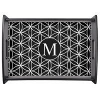 Flower of Life Lg Ptn (Personalised) White on Blk Serving Tray