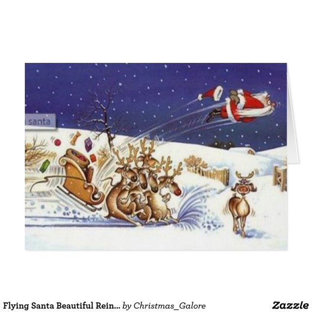 Flying Santa Beautiful Reindeer Funny Christmas