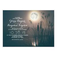 Full moon night dragonfly & water grass wedding 5x7 paper invitation card