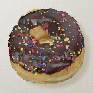 Fun Chocolate sprinkles donut Round Pillow