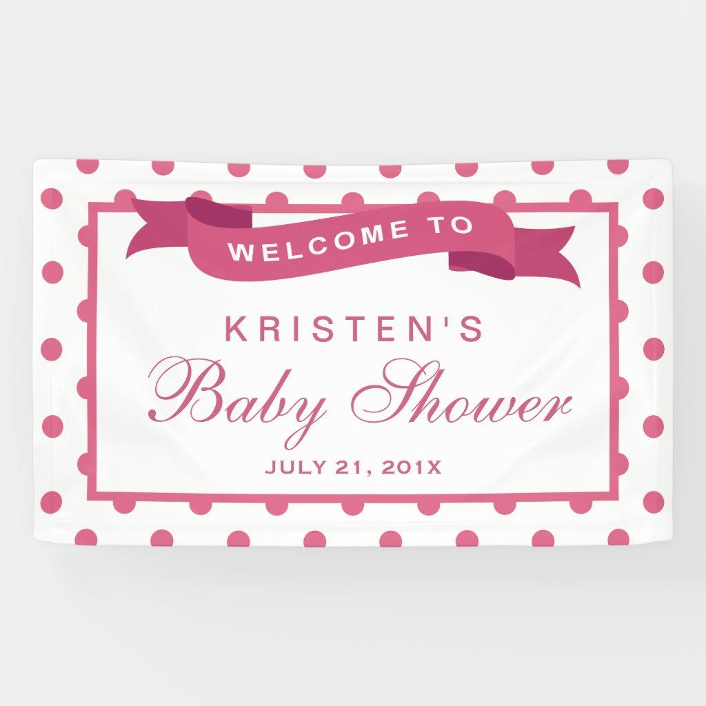 Girl Baby Shower Girly Pink Polka Dots Ribbon