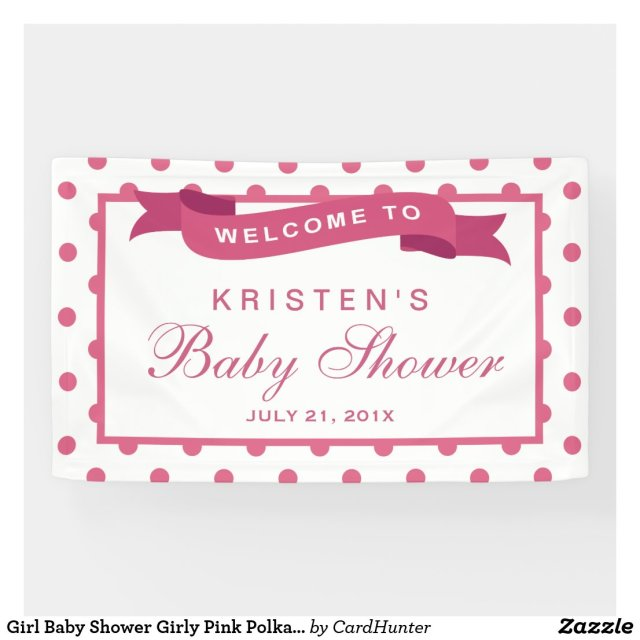 Girl Baby Shower Girly Pink Polka Dots Ribbon