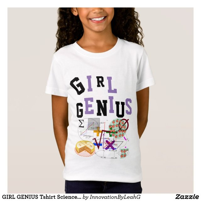 GIRL GENIUS Tshirt Science Maths NAME on Back