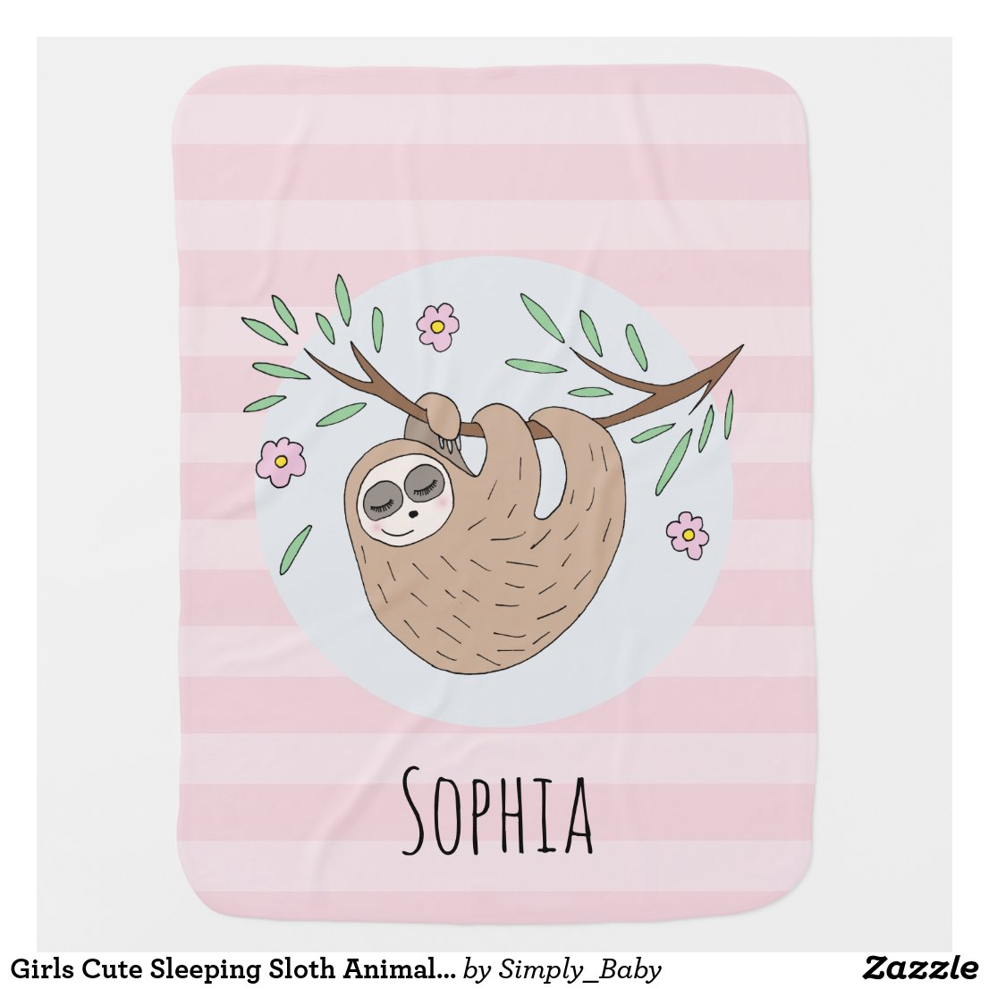 Girls Cute Sleeping Sloth Animal and Name Baby Blanket