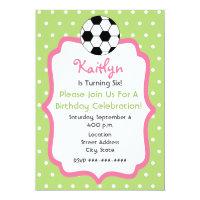 Girl's Soccer Birthday Party Invitation