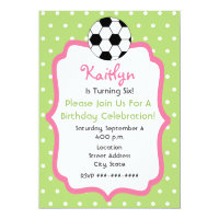 Girl's Soccer Birthday Party Invitation
