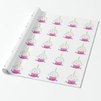 Girly Pink Cupcake Birthday Wrapping Paper