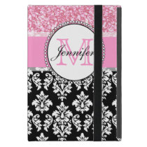 Girly, Pink, Glitter Black Damask Personalized Cover For iPad Mini