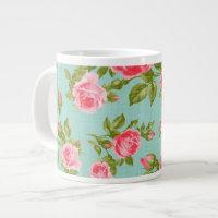 Girly Vintage Roses Floral Print Large Coffee Mug