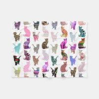 Cats Pattern Fleece Blanket
