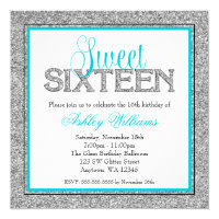 Glam Faux Glitter Silver Teal Blue Sweet 16 Card