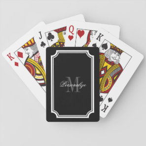 Glamourous black and white monogram playing cards