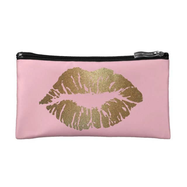Glitter Kiss Pink Cosmetic Bag