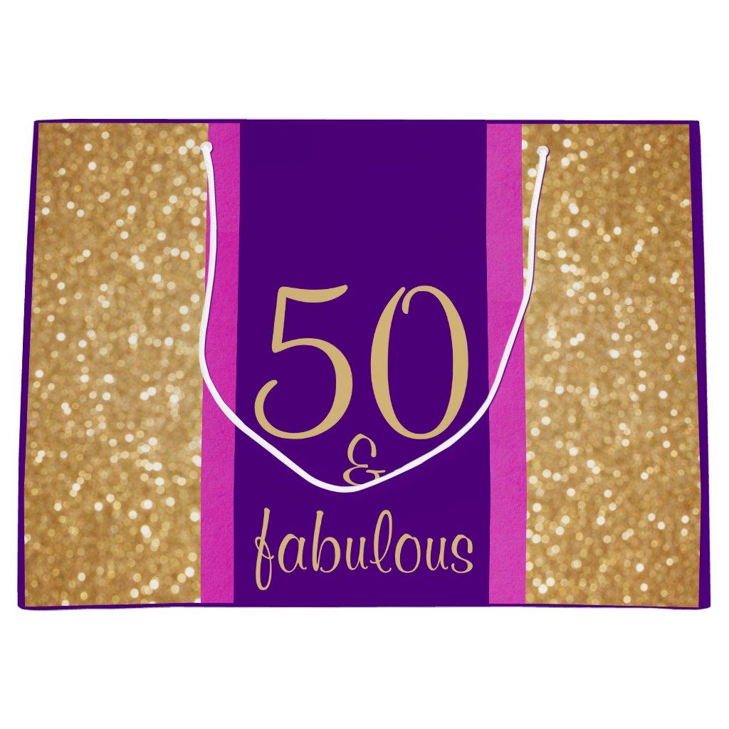 Glittery Purple & Pink 50 & Fabulous 50th Birthday Large Gift Bag