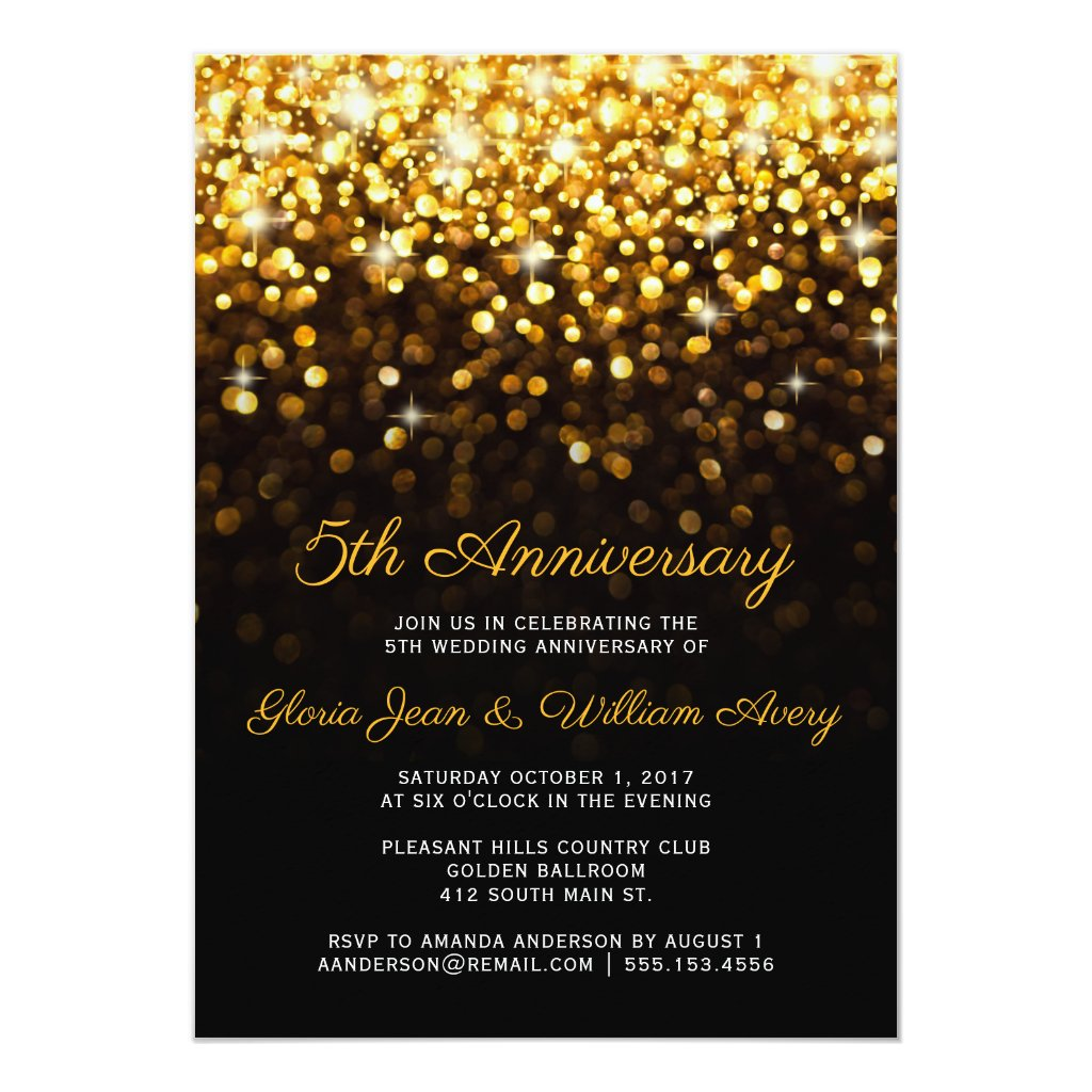 Gold Black Hollywood Glam 5th Wedding Anniversary Card