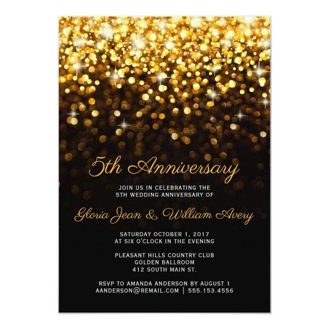 Gold Black Hollywood Glam 5th Wedding Anniversary Card