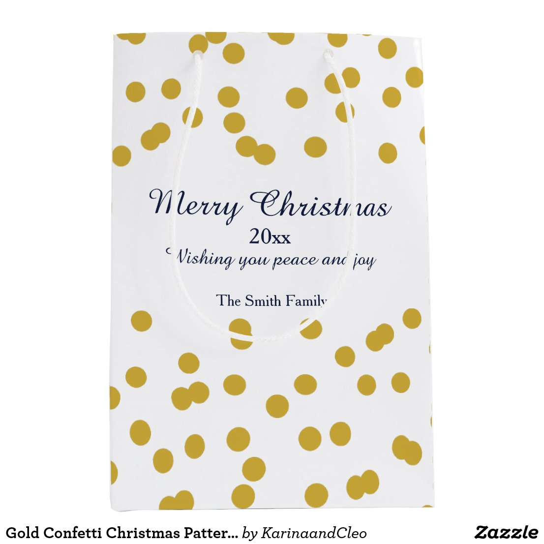 Gold Confetti Christmas Pattern with Blue